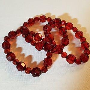 "Handmade Brown Bead Stretch Bracelet 8"""